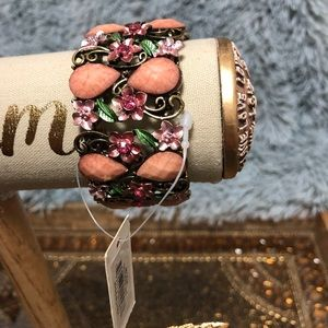 NWT enamel and metal cuff bracelet with stones
